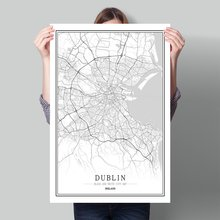 Black-and-White Map of Creative Cities in Europe Ireland capital Dublin Home Decoration Canvas Painting wall pictures art