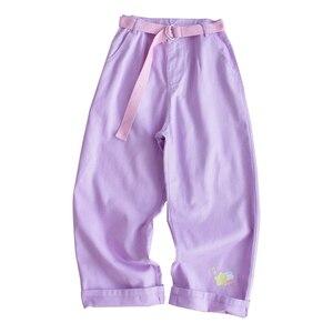 Image 3 - Harajuku Cartoon hafty spodnie dżinsowe damskie japońskie wysokiej talii śliczne dorywczo fioletowe spodnie koreańskie Kawaii dziewczęce spodnie z szerokimi nogawkami