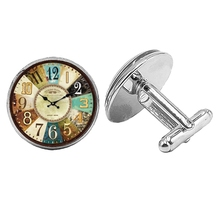 Hot! 2019 Super New Fashion Clock Badge Cufflinks Glass Cabochon Silver Mens Gift Jewelry
