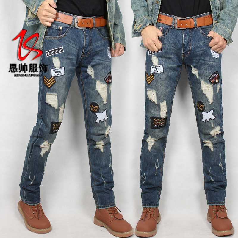 2019 New Style Men's Trend Brand Men'S Wear Slim Fit Korean-style Skinny Jeans Quality Made Manufacturers Direct Selling
