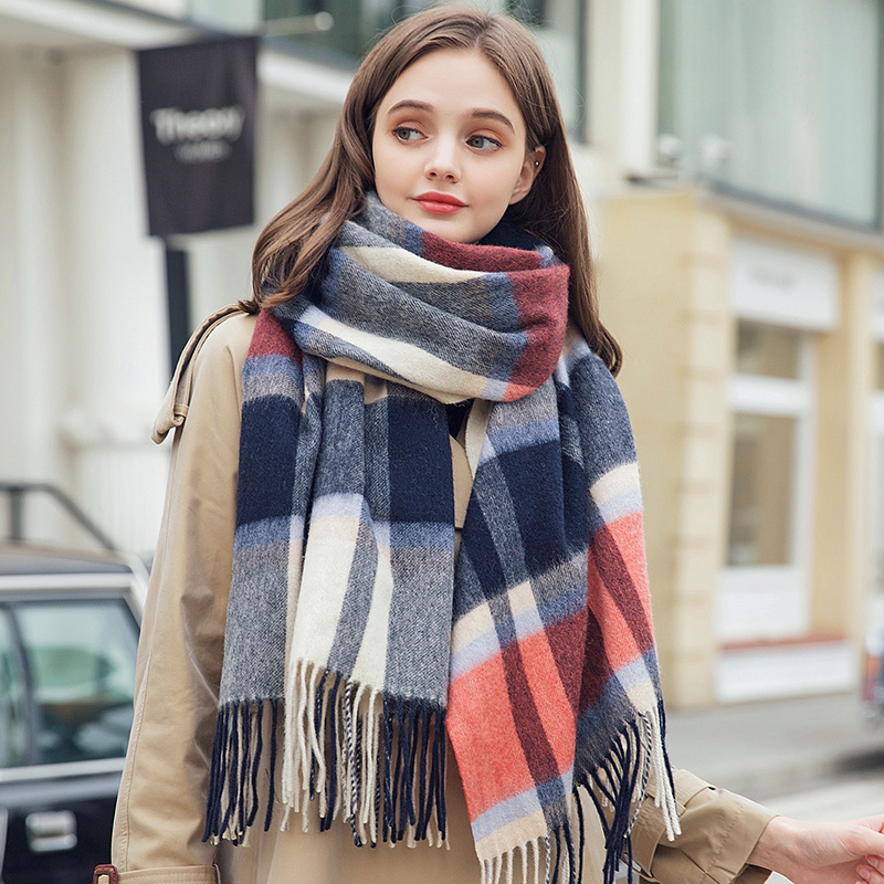 100% Wool Scarf for Women Thicken Warm Cashmere Shawls and Wraps Blue Plaid Echarpe Pashmina Winter Wool Scarves Foulard Femme