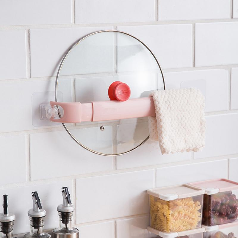 Adjustable Kitchen Wall Mounted Rack Bathroom Towel Bar Shelf Self-adhesive Storage Rack Holder Toilet Roll Paper Shoe Hanger
