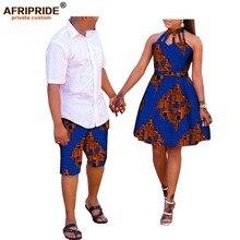 아프리카 커플 의류 AFRIPRDE ankara 인쇄 남자의 무릎 길이 바지 + 여성 민소매 무릎 길이 드레스 100% 코 튼 A72C02