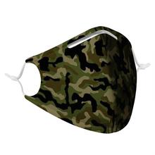 Camouflage pattern male and female respirator with 4Pcs filter, stylish reusable respirator, non-disposable virus