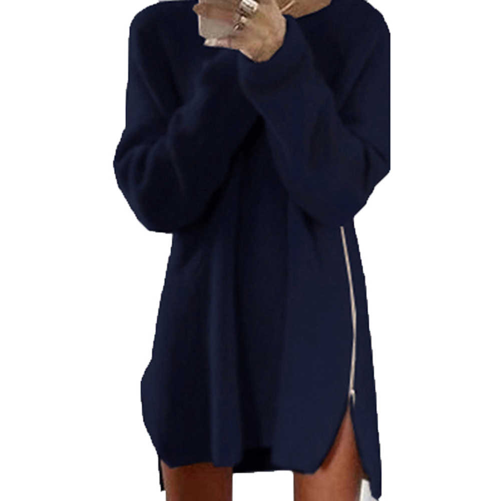 여성 섹시 솔리드 컬러 긴 소매 o 넥 사이드 웨이 지퍼 느슨한 미니 스웨터 드레스