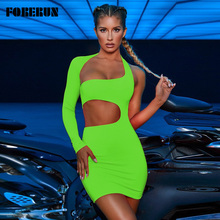 FORERUN Dress Neon Robe Femme Sexy Club Long-Sleeve Backless Bodycon Hollow-Out Mini