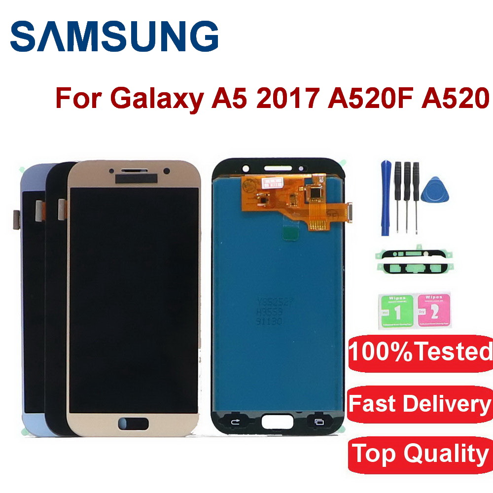 For <font><b>Samsung</b></font> Galaxy A5 2017 <font><b>A520F</b></font> SM-<font><b>A520F</b></font> A520 LCD <font><b>Display</b></font> Touch Screen Digitizer Glass Assembly Digitizer Replacemen With frame image