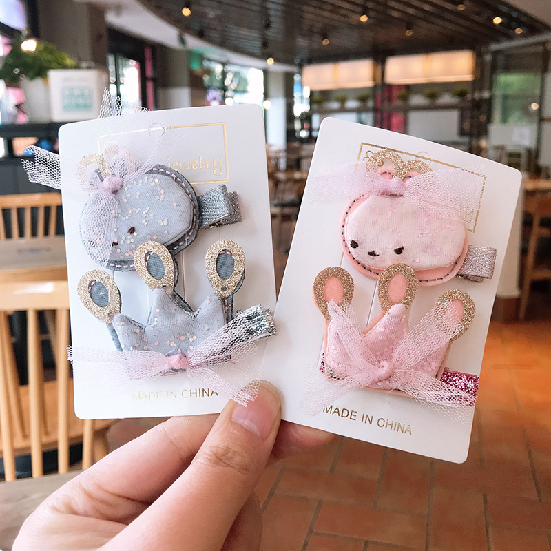 2020 Children's New Korean Hair Accessories Pink Cartoon Rabbit Hairpin Girl's Lovely Crown Jewelry Girls Hairpin