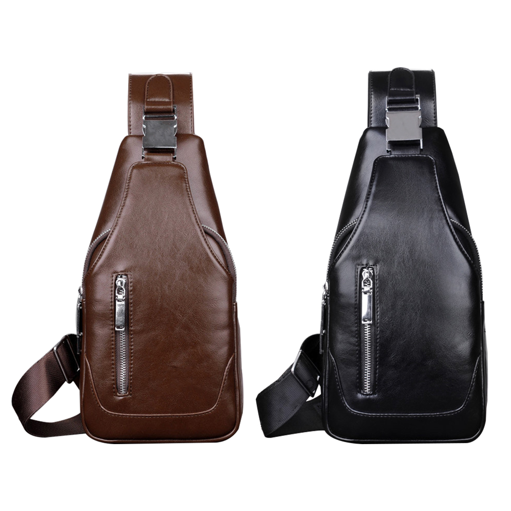 With Charging Hole Travel Casual Wearproof Cross Body One Shoulder Single Shoulder Men Chest Bag Zipper PU Leather Sling Outdoor