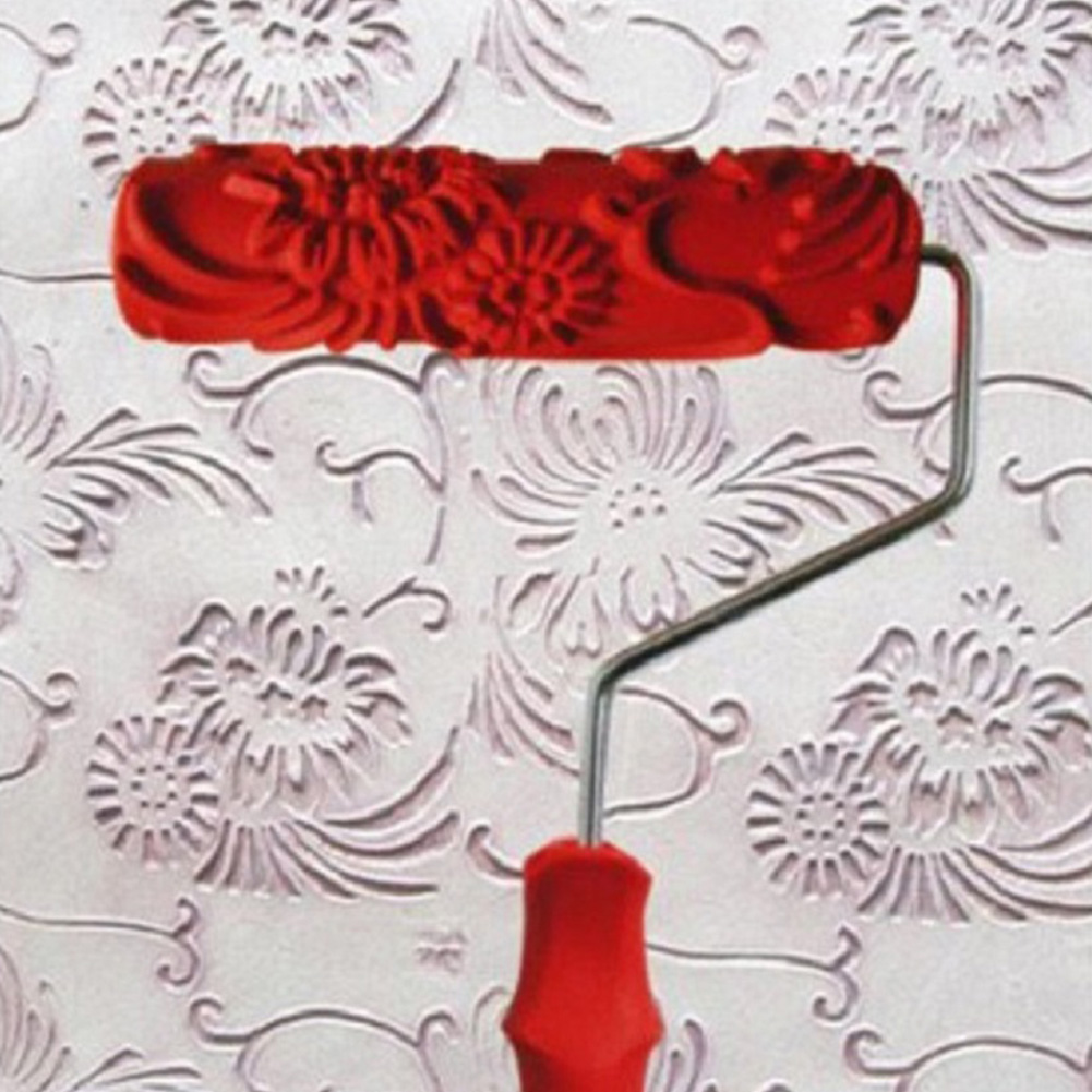 Home Improvement Decor Tool Wall Paint Roller Painting Tool Rubber Floral Pattern Paint Roller