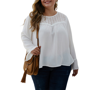 4XL Plus Size Lace Patchwork Chiffon Tops Ladies Spring Butterfly Sleeve Shirts Blouses Casual Loose Solid Colour Blouse D30