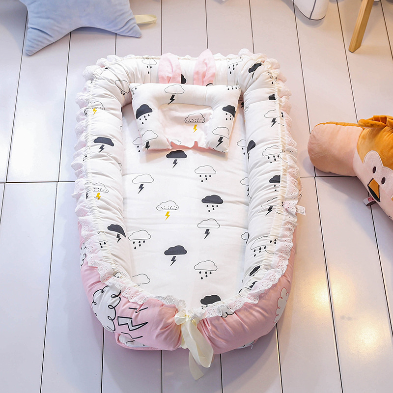 Lace Portable Bed Foldable Baby crib Newborn Bionic uterus bed Travel Baby Cot Without Quilt Kid's bed