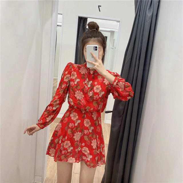 Red Floral Printed Chiffon Mini Dress Women Za 2020 Fashion Bow O-neck Pleated Long Sleeve Dress Woman Vintage Elegant Dresses 2