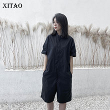 XITAO Japanese Style Black Tooling Short Sleeve Bodysuit Simple Leisure Jumpsuit