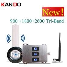 Avec antenne 900 1800 2600 mhz amplificateur de Signal Mobile à trois bandes amplificateur de Signal Mobile 2G 4G LTE répéteur cellulaire GSM DCS WCDMA