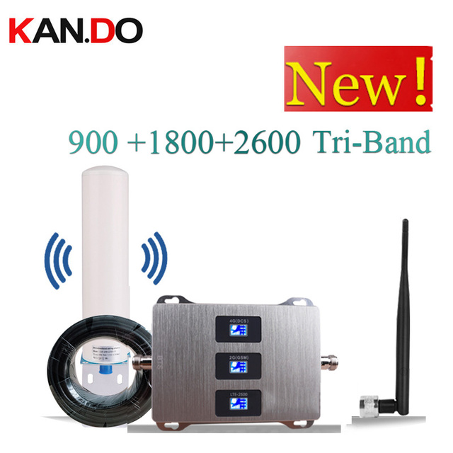 with antenna 900 1800 2600 mhz Cell Phone Booster Tri Band Mobile Signal Amplifier 2G 4G LTE Cellular Repeater GSM DCS WCDMA