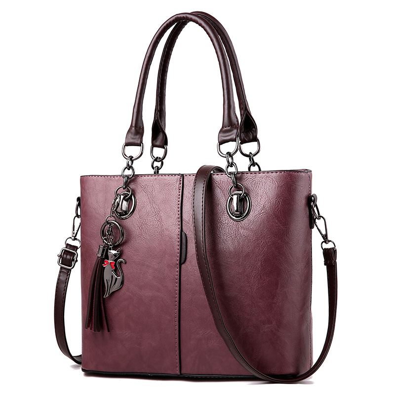 Women Handbag Shoulder Bag Girls Fashion Famous Design Leather Big Casual Tote High Quality Hasp Casual Black New 2019