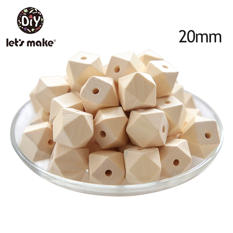 Let's Make 50pcs Unfinished Hexogan Geometric Wooden Beads 16mm/20mm Wooden Teether For DIY Baby Rattle Baby Teether Toys