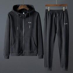 Мужской комплект со свитером s, однотонный спортивный костюм с длинными рукавами и брюками, толстовка размера плюс 8XL, спортивный костюм, сви...