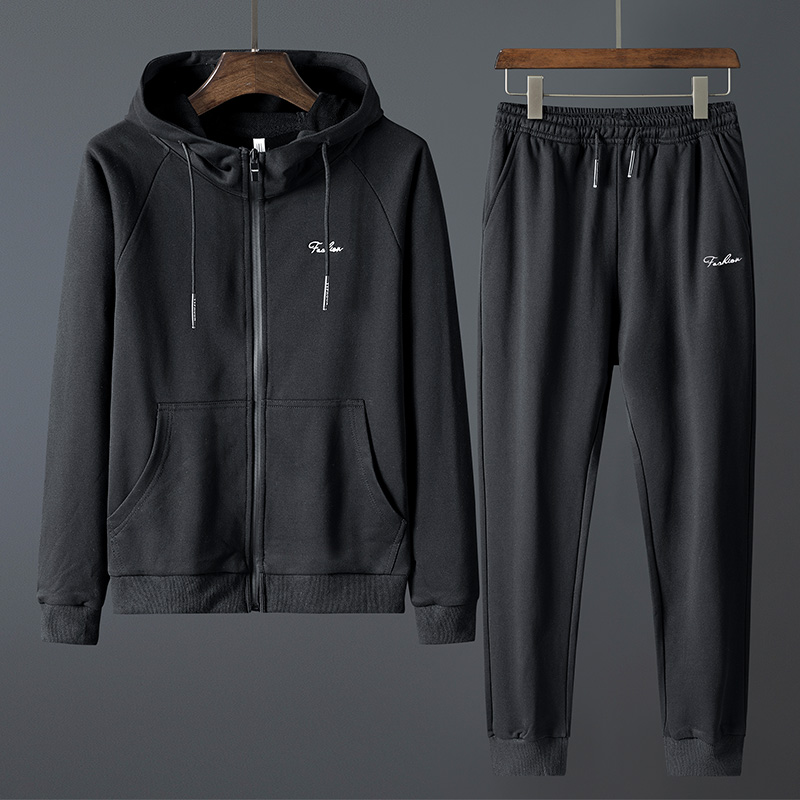 Mens Sweater Set Solid Long Sleeves And Pants Tracksuit Men Plus Size 8XL Hoodies Sport Suit Sweaters Pants