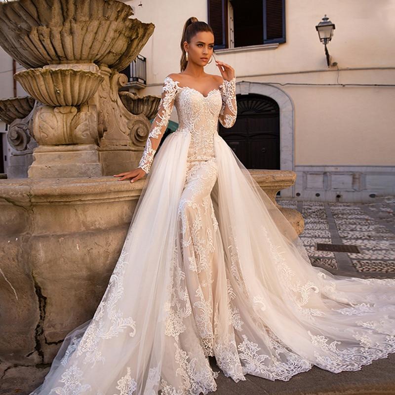 Detachable Vestido De Noiva Muslim Wedding Dresses Mermaid Long Sleeves Tulle Appliques Lace Boho Wedding Gown Bridal Dresses
