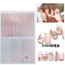 3d adesivos para unhas design auto-adesivo rosa listra rosa ouro linha decorações da arte do prego decalques folha envoltório manicure acessórios
