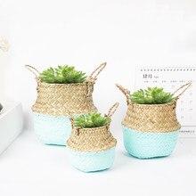 Decoração do desktop seagrass planta flor cesta carnudo pote caneta caixa de armazenamento papelaria balde mesa tecido vime jardim pote