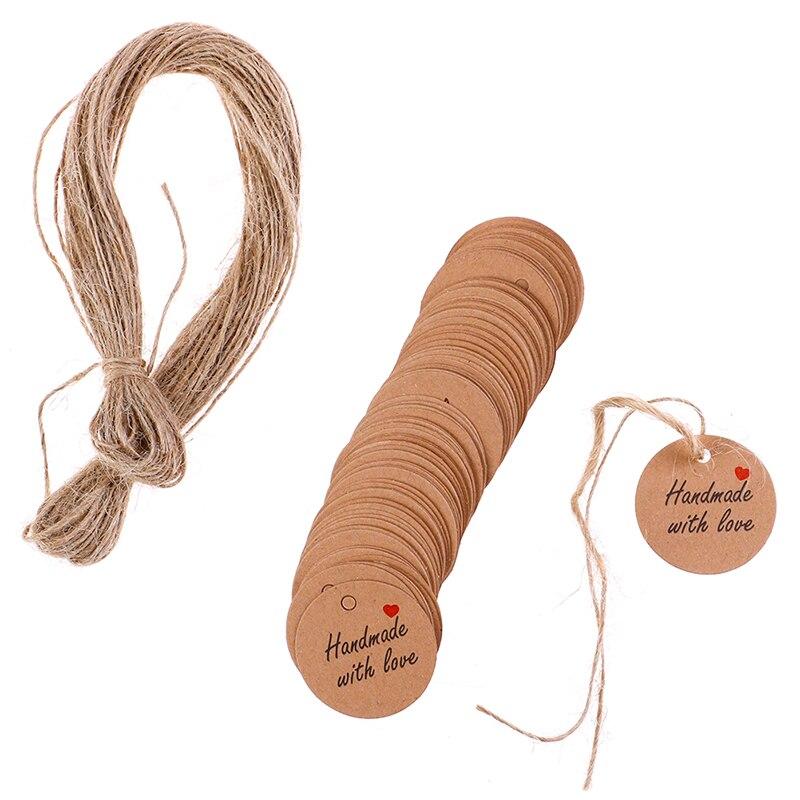 100 шт ручной работы с этикетками любви, бирки, чистая крафт-бумага, 20 м, бирки, этикетки, вечерние Рождественские сувениры, подарки