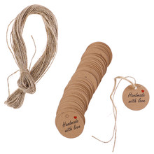 100Pcs Handmade with Love Labels Hang Tags Blank Kraft Paper with 20m String Tag Labels Party christmas Favors Gifts(China)