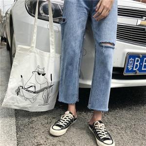 Image 3 - Джинсы Женские однотонные модные элегантные подходящие ко всему высококачественные Свободные повседневные женские в Корейском стиле для отдыха женские простые милые простые джинсы с 2020 отверстиями