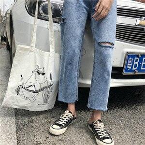 Image 3 - Vaqueros lisos de moda para mujer, pantalones vaqueros femeninos elegantes, fáciles de combinar, de alta calidad, estilo coreano, holgados, de uso diario, con 2020 agujeros