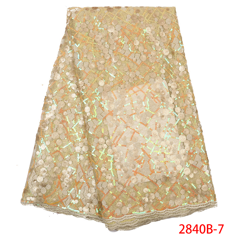 African Organza Lace Fabric,High Quality Double Organza Lace With Sequins, 2019 French Tulle Mesh Laces For Dresses KS2840B-7