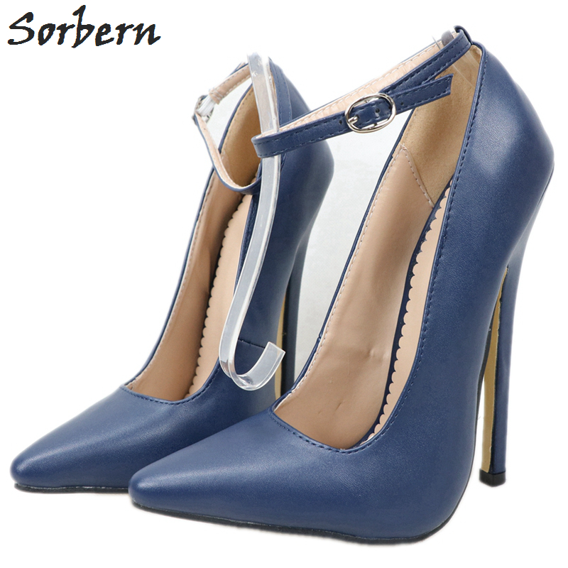Sorbern Navy Blue Women Pump Shoes High Heel Ankle Strap Pointed Toe 18Cm Spike Heel Stilettos Size 13 Womens Shoe Custom Color