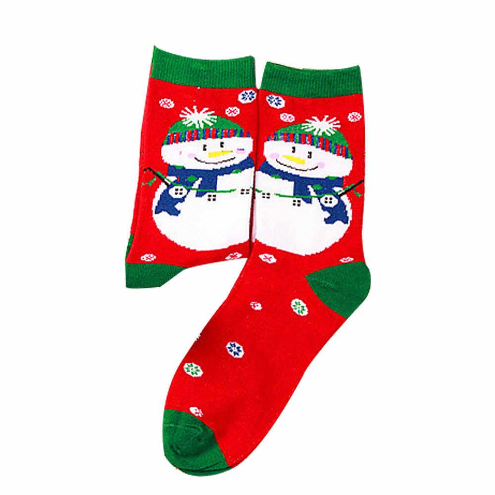 Bawełniane skarpety świąteczne kobiety i mężczyźni nowy 2019 jesienno-zimowa nowy rok święty mikołaj choinka śnieg ełk prezent szczęśliwe skarpetki
