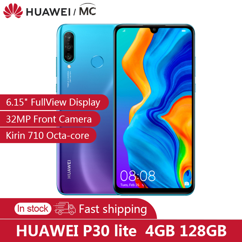 "Original HUAWEI P30 Lite 4GB 128GB  6.15"" Fullview Display 2312×1080 Kirin710 Octa-core EMUI 9.0 32MP Front Camera Fast Charge"