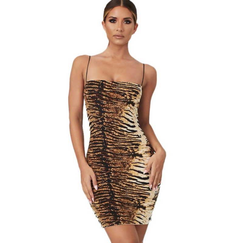 <font><b>2019</b></font> Female <font><b>Fashion</b></font> Leopard Tiger Dress Pattern Sling Dress Backless <font><b>Sexy</b></font> Tube <font><b>Top</b></font> Dress For Women image