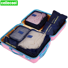 New High Quality 6PCS/Set Oxford Cloth Travel Mesh Bag In Luggage Organizer lPacking Cube Organiser for Clothing