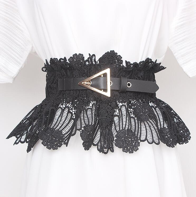 Women's Runway Fashion White Black Elastic Lace Cummerbunds Female Dress Corsets Waistband Belts Decoration Wide Belt R466