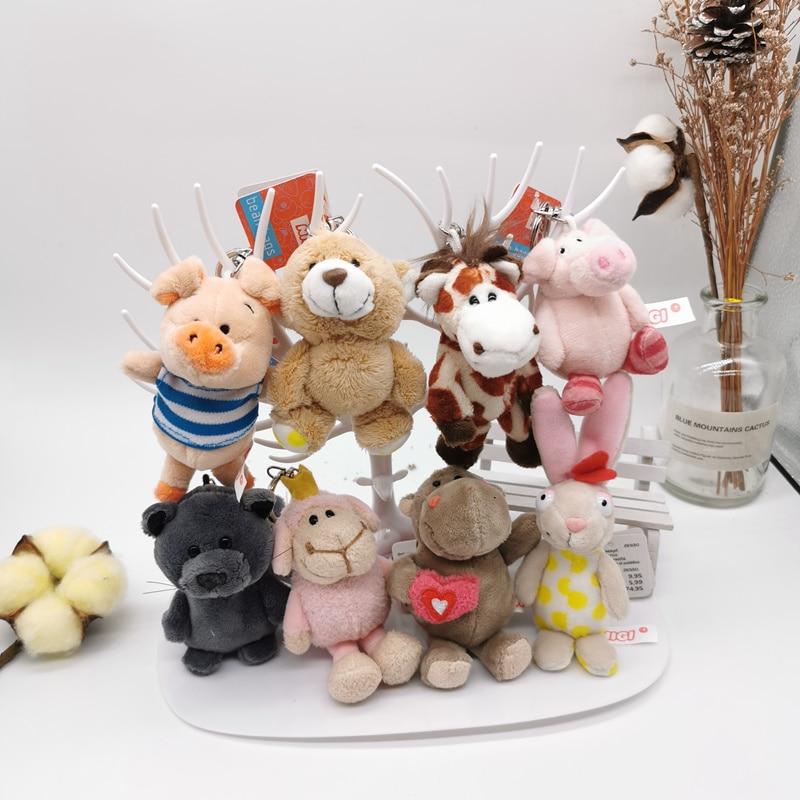 1PC 10cm New Germany Stuffed Animals Plush Keychains Toys Stuffed Hippo Cat Dog Jungle Brother Plush Animals Bag Pendant Dolls
