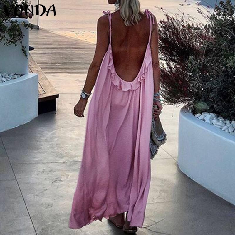 VONDA Summer Dress 2020 Women Sexy Sleeveless Backless Long Maxi Dresses Plus Size Bohemian Beach Sundress Casual Vestidos S-5XL