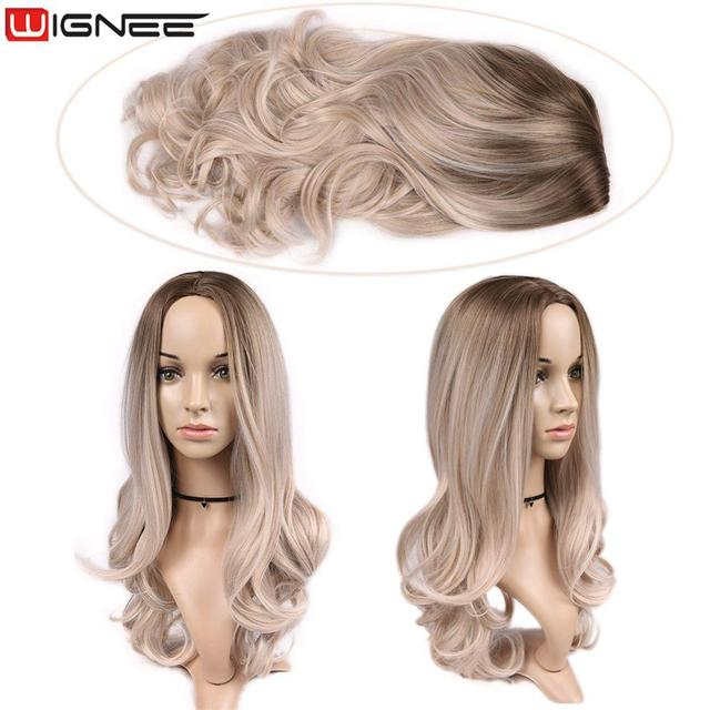 Wignee Long 2 Tone Ombre Brown Ash Blonde Temperature Synthetic Wigs For Black/White Women Glueless Wavy Daily/Cosplay Hair Wig 5