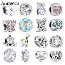 Aouveza novo diamante-cravejado contas urso grinalda diy frisado se encaixa original pandora charme prata 925 pulseira jóias femininas