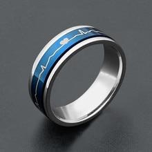 Cor azul delicado aço inoxidável spinner anel jóias masculino clássico batimento cardíaco girar anéis para a moda feminina bague jóias