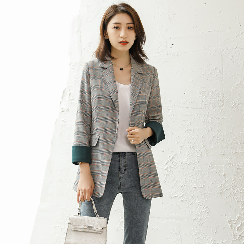 High Quality Plaid Small Suit Jacket Female Spring And Summer New Casual Wild Loose Autumn Suit Jacket