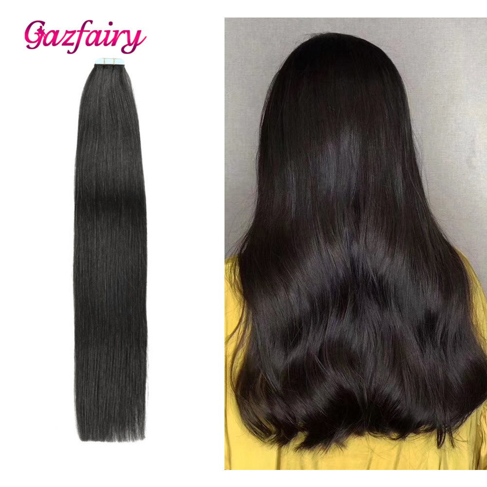 Gazfairy Tape In Human Hair Extensions Natural Real Remy Hair 16'' 30g Silky Straight Shine Brown To Blonde Tape Ins For Women