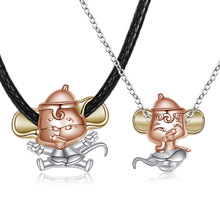 Heart lock mouse s925 sterling silver necklace 2020 animal year lucky mouse zodiac mascot colorful silver couple necklace japan genuine 2019 new year cute kawaii mascot zodiac lucky blessing pig cat figure decortion desktop