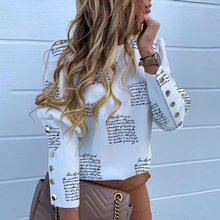 Free shipping 2020 new causal stretch&spandex women's clothing   fashion  button long sleeve English letter printed shirt top
