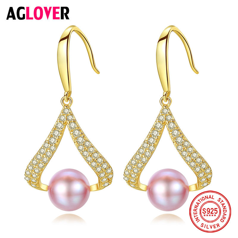 AGLOVER New Pearl Earrings For Women 925 Silver Earrings Gilt Genuine Natural Freshwater Pearl Charm Jewelry Lady Gift