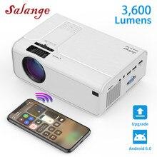 Мини-проектор Salange HD P60, 3600 лм, 720P, светодиодный Видеопроектор для домашнего кинотеатра, поддержка 1080P опционально, Android, Wi-Fi, Bluetooth