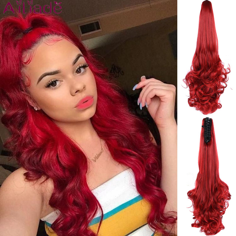 AILIADE 24inch Long Red Wavy Pony Tail High Temperature Fiber Synthetic Claw Hairpiece Ponytail Hair Extensions For Women